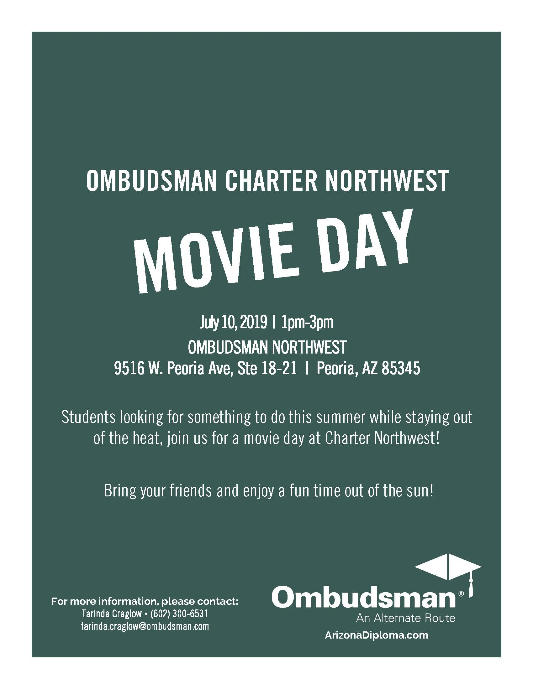 Charter Northwest Movie Day Flyer for Movie day on July 10th from 1pm to 3pm.