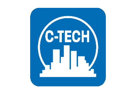 C-TECH logo - a white cityscape on a blue background with the letters C-TECH above the city with a circle enscribed behind the city, surrounding the words